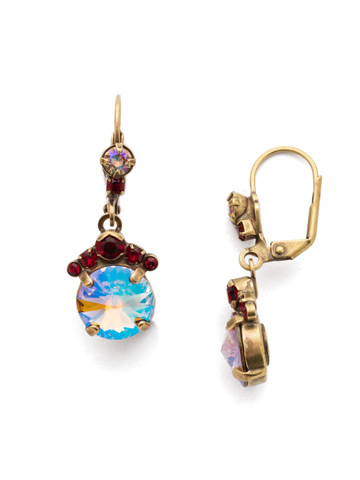 Crowning Around Earring in Antique Gold-tone Go Garnet