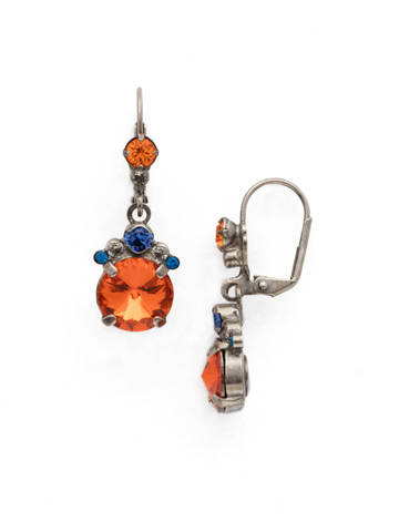 Crowning Around Earring in Antique Silver-tone Orange Crush