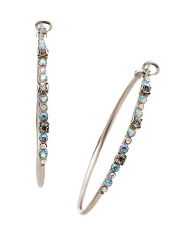 Hoopla Earring in Antique Silver-tone Crystal Rock
