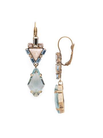 Tribal Rhombus French Wire Earring in Antique Gold-tone Coastal Mist