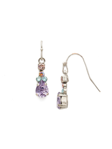 Petite Poire Earring in Antique Silver-tone Lilac Pastel