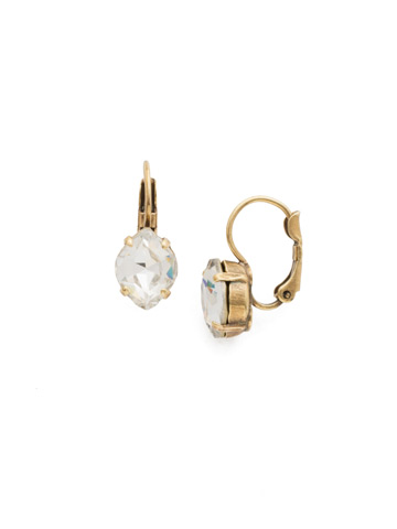 Crystal Crysathemum Earring in Antique Gold-tone White Magnolia
