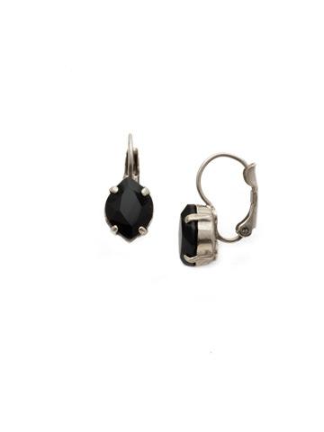 Crystal Crysathemum Earring in Antique Silver-tone Black Onyx