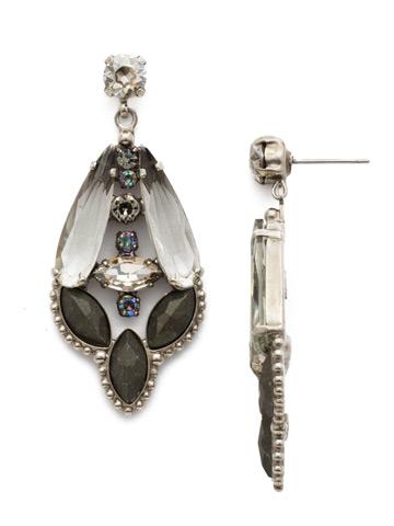 Brilliant Boho Earring in Antique Silver-tone Crystal Rock
