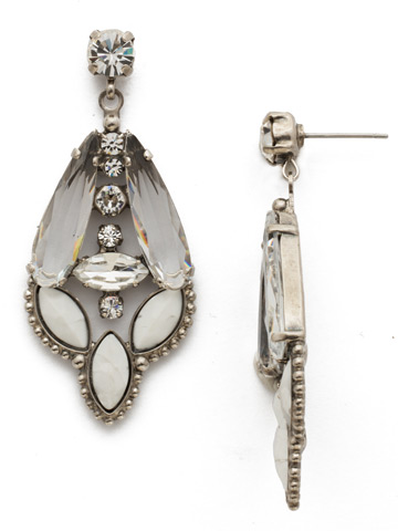 Brilliant Boho Earring in Antique Silver-tone Crystal