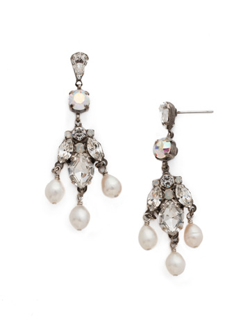 Lumiere Earring in Antique Silver-tone White Bridal