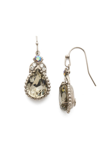 Decorative Deco Earring in Antique Silver-tone Crystal Rock