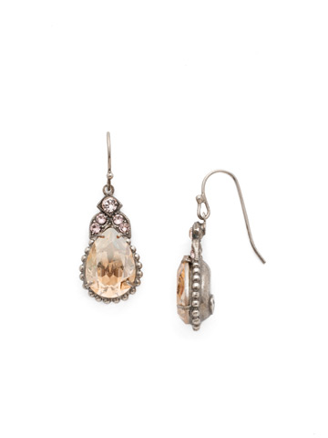 Decorative Deco Earring in Antique Silver-tone Satin Blush