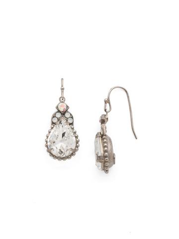 Decorative Deco Earring in Antique Silver-tone White Bridal
