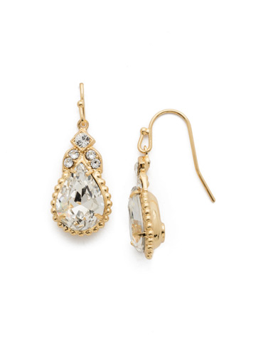 Decorative Deco Earring in Bright Gold-tone Crystal