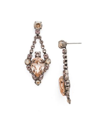 Decorative Diamond Earring in Antique Silver-tone Satin Blush