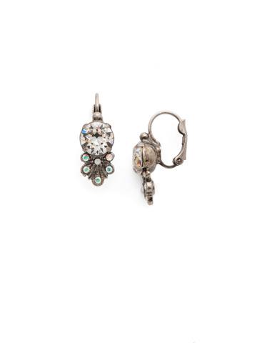 Brilliant Burst Earring in Antique Silver-tone White Bridal