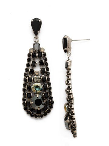In the Loop Earring in Antique Silver-tone Black Onyx