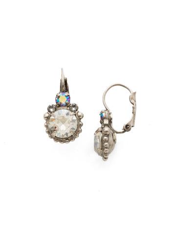 Solar Flare Earrings in Antique Silver-tone Crystal Rock