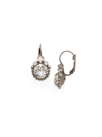 Solar Flare Earrings in Antique Silver-tone White Bridal