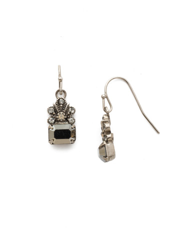 Crowning Glory Earring in Antique Silver-tone Black Onyx