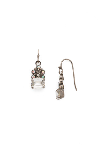 Crowning Glory Earring in Antique Silver-tone White Bridal