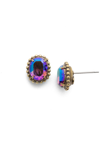 Oval-Cut Solitaire Earring in Antique Gold-tone Game of Jewel Tones