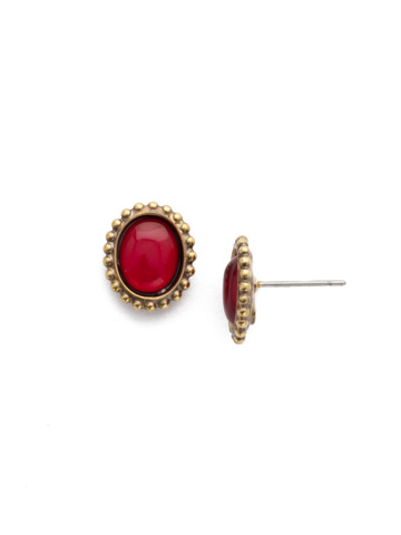 Oval-Cut Solitaire Earring in Antique Gold-tone Sansa Red