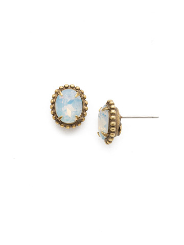 Oval-Cut Solitaire Earring in Antique Gold-tone White Magnolia