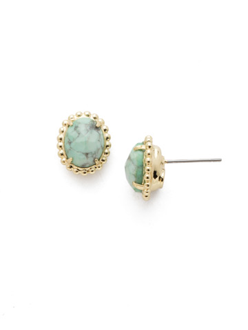 Oval-Cut Solitaire Earring in Bright Gold-tone Candy Pop