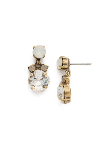Balsam Earring in Antique Gold-tone White Magnolia