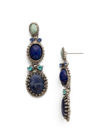 Serpentine Earring in Antique Silver-tone Ultramarine