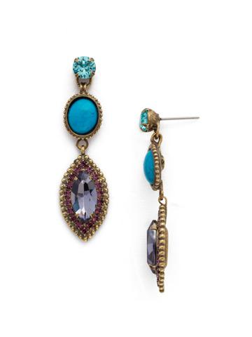 Yarrow Earring in Antique Gold-tone Jewel Tone