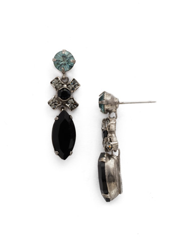 Perfect Harmony Drop Earring in Antique Silver-tone Black Onyx
