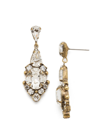 Alyssum Earring in Antique Gold-tone Crystal