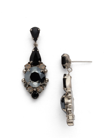 Alyssum Earring in Antique Silver-tone Black Onyx