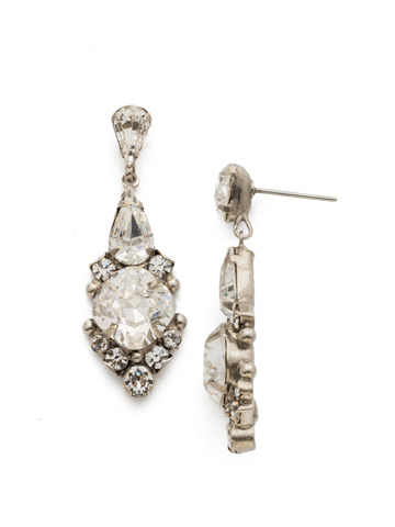 Alyssum Earring in Antique Silver-tone Crystal