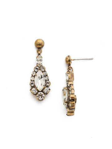 Rue Earring in Antique Gold-tone Crystal