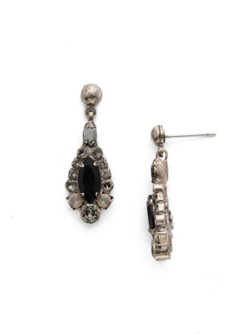 Rue Earring in Antique Silver-tone Black Onyx