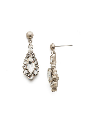 Rue Earring in Antique Silver-tone Crystal