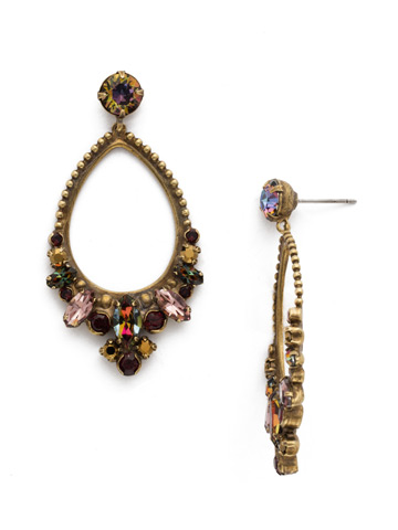 Noveau Navette Statement Earring in Antique Gold-tone Mahogany