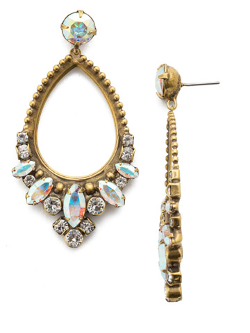 Noveau Navette Statement Earring in Antique Gold-tone Snowflake