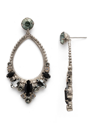 Noveau Navette Statement Earring in Antique Silver-tone Black Onyx