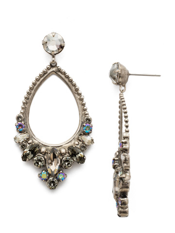 Noveau Navette Statement Earring in Antique Silver-tone Crystal Rock