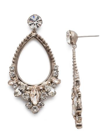 Noveau Navette Statement Earring in Antique Silver-tone Soft Petal