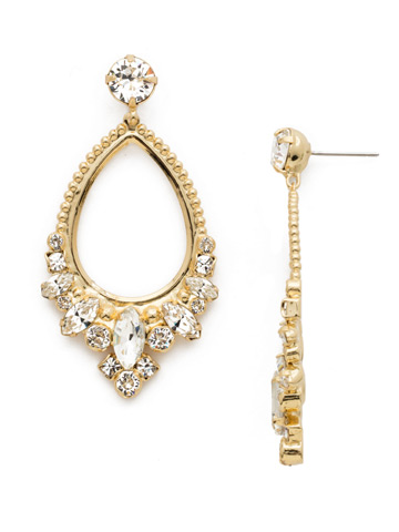 Noveau Navette Statement Earring in Bright Gold-tone Crystal
