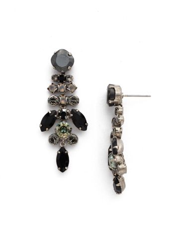 Perfect Harmony Chandelier Earring in Antique Silver-tone Black Onyx
