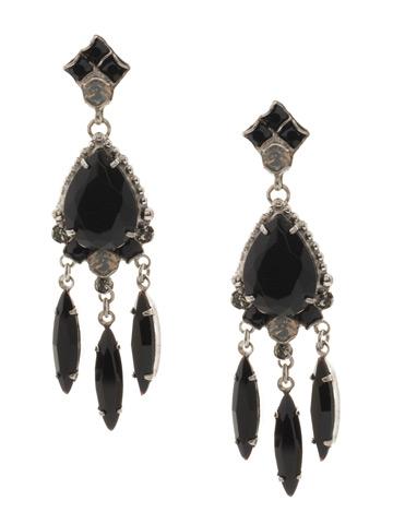 Primrose Earring in Antique Silver-tone Black Onyx