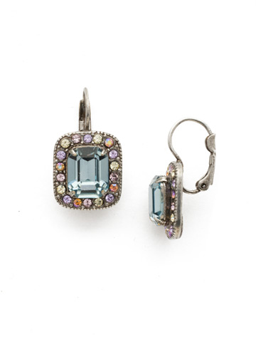 Opulent Octagon Earring in Antique Silver-tone Lilac Pastel