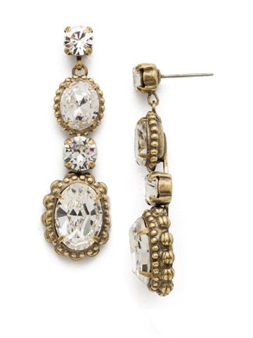 Camellia Drop Earring in Antique Gold-tone Crystal