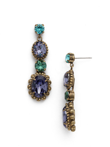 Camellia Drop Earring in Antique Gold-tone Jewel Tone