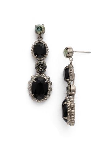 Camellia Drop Earring in Antique Silver-tone Black Onyx