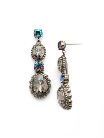Camellia Drop Earring in Antique Silver-tone Crystal Rock