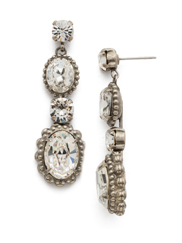 Camellia Drop Earring in Antique Silver-tone Crystal