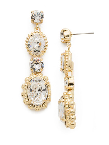 Camellia Drop Earring in Bright Gold-tone Crystal